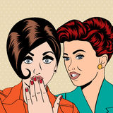 Two young girlfriends talking, comic art illustration Royalty Free Stock Image