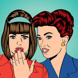 Two young girlfriends talking, comic art illustration Royalty Free Stock Photos