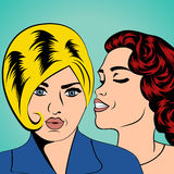 Two young girlfriends talking, comic art illustration Royalty Free Stock Images