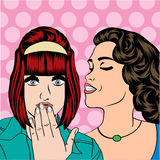 Two young girlfriends talking, comic art illustration Stock Photo