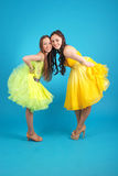 Two young girls in ballroom dress Royalty Free Stock Photography