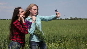 Two young girls with a bunch of flowers on a green field, make selfie phone. Funny girl with a bouquet of flowers make selfie on a green field stock footage