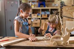 Kids Wood Crafts stock photo