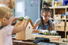Kids Wood Crafts Royalty Free Stock Photography