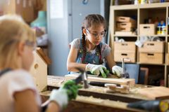 Kids Wood Crafts Royalty Free Stock Images
