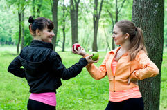 Two young girls exchanging apples Royalty Free Stock Photography