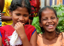 Two young girls in Goa. Two young girls having fun at the carnival in Goa Royalty Free Stock Image
