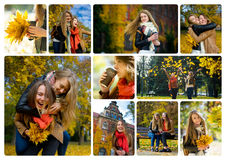 Two young girls happy to spend their free time in the autumn park. Stock Image