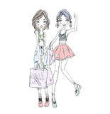 Two young girls holding shopping bags in hands. Hand-drawn sketch.  Stock Photos