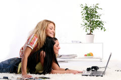 A two young girls at home Royalty Free Stock Photo
