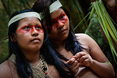 Two young girls from huaorani tribe in the amazon Royalty Free Stock Images