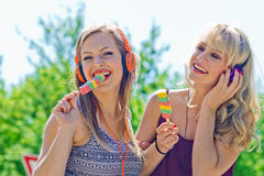 Two young girls with ice cream Stock Photo