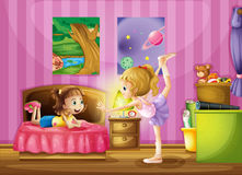 Two young girls inside a bedroom vector illustration