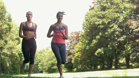 Two young girls jogging in a park. In slow motion stock footage