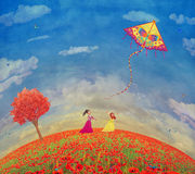 Two young girls with the kite on the field of poppies Stock Images
