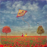 Two young girls with the kite on the field of poppies. Illustration art Royalty Free Stock Image