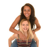 Two young girls laughing Stock Photo