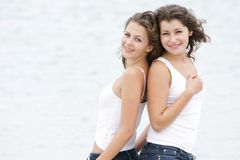 Two young girls on nature Royalty Free Stock Image