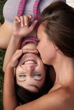 Two young girls outdoor Stock Photography