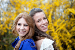 Two young girls outside Royalty Free Stock Photo