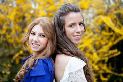 Two young girls outside Stock Photos