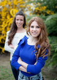 Two young girls outside Stock Images