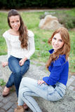 Two young girls outside Royalty Free Stock Images