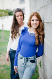 Two young girls outside Royalty Free Stock Photography