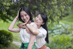 Two young girls in the play Stock Photography