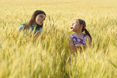 Two young girls playing outdoor Stock Image