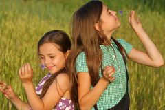 Two young girls playing outdoor Stock Photography
