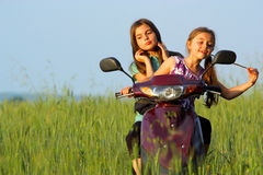 Two young girls playing outdoor Royalty Free Stock Photography
