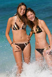 Two young girls in the sea royalty free stock photo