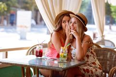 Two young girls share a secret in the ear sitting in a cafe stock photo