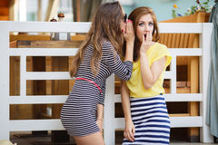 Two young girls share secrets. Two cute women,brunettes with long hair ,dressed in a striped summer dress and a striped skirt and a yellow t-shirt,a good friend Royalty Free Stock Photography