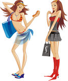 Two Young Girls With Shopping Bags Royalty Free Stock Images