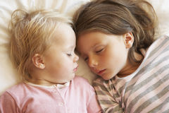 Two Young Girls Sleeping In Bed Stock Images