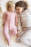 Two Young Girls Sleeping In Bed Royalty Free Stock Images