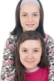 Two young girls smiling Stock Photo