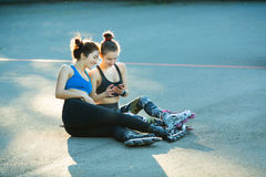 Two young girls in sports Royalty Free Stock Images