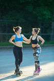 Two young girls in sports Stock Photos