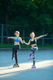 Two young girls in sports Stock Photo