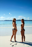 Two young girls standing by paradise ocean. Two beautiful young women standing on paradise beach Stock Images