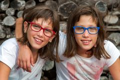 Two young handicapped twins. Stock Image