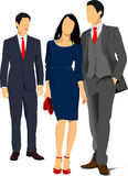 Two young handsome men and young woman. Businessman. Business woman. Vector illustration Royalty Free Stock Photos