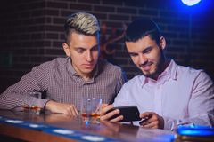 Old friends met at the bar stock photography