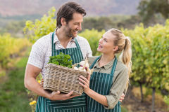 Two young happy farmers holding a basket of vegetables Stock Photography