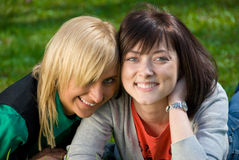 Two young happy girls Stock Photos