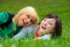 Two young happy girls Stock Photo