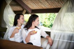 Two young happy girls with glasses of wine. Sitting in a hug in a gazebo outdoors Royalty Free Stock Images